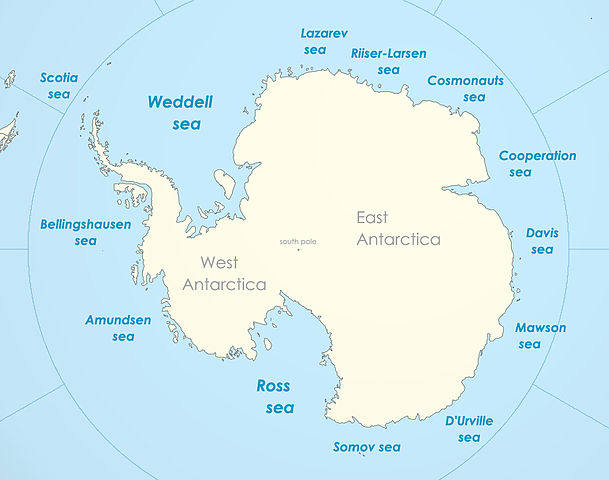 Map of the Antarctic seas, via Wikimedia commons.
