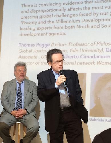 Alberto Cimadamore and Thomas Pogge, at Unesco, Cop21 2015. Foto: Gudrun Sylte
