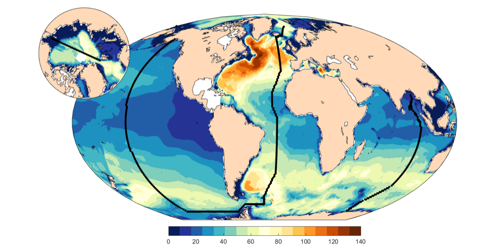 Map of the world oceans related to ocean acidification