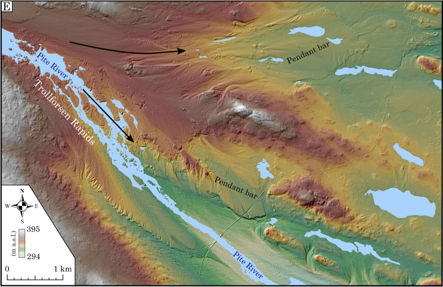 LIDAR-based terrain with flood-related landforms.