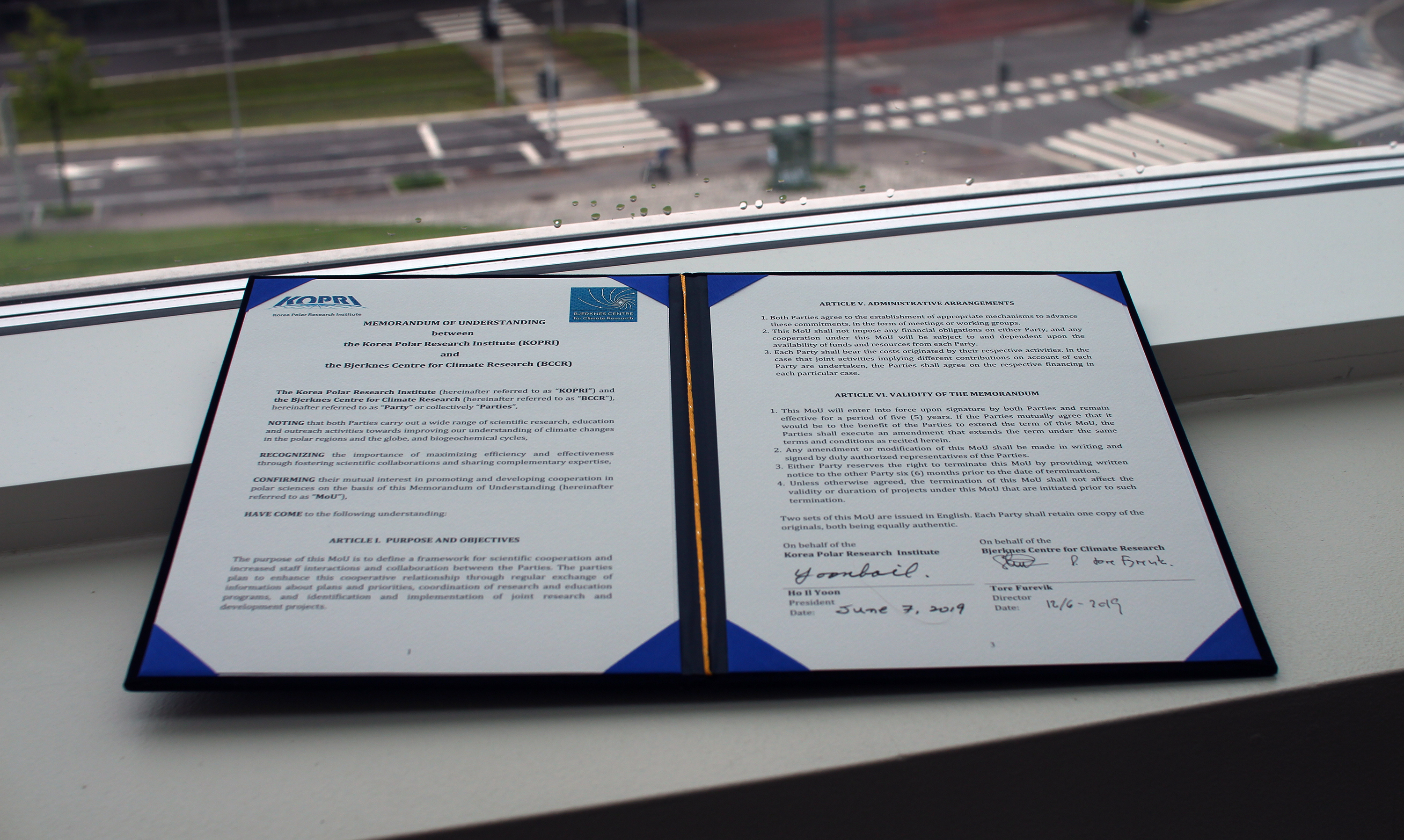 The MoU between KOPRI and the Bjerknes Centre