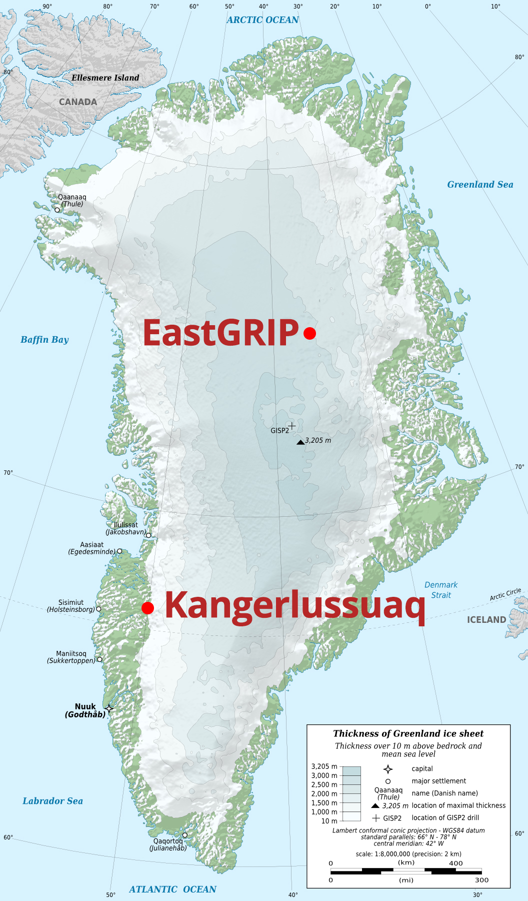 Greenland, with coastal base camp Kangerlussuaq and EastGRIP camp marked.