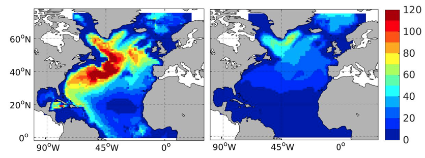 a map of the ocean simulated in the study