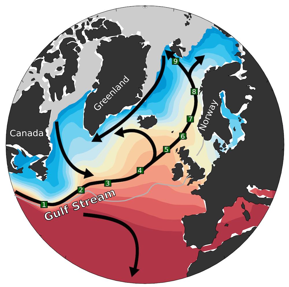 kart over golfstrømmens forlengelse mot Arktis