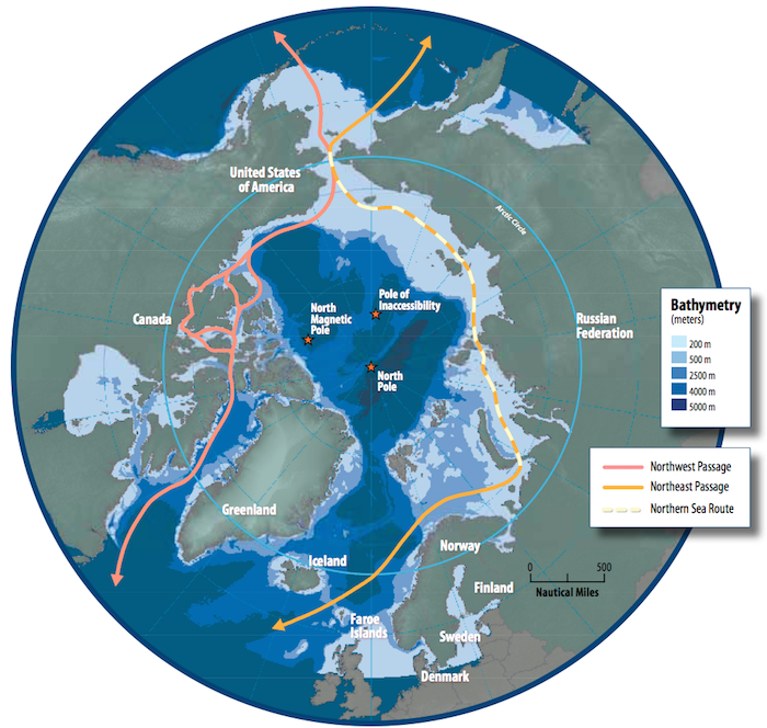 Map of the Arctic Shipping routes. Credit: Arctic Counsil/ Susie Harder