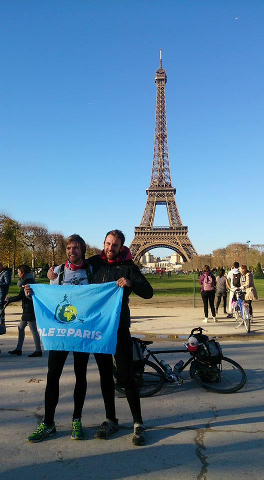 Pole to Paris - Erlend and Dan meets by the Eiffel tower