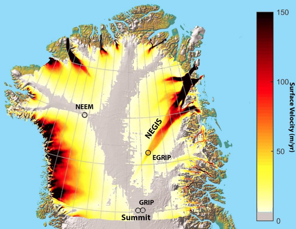 Map of North Greenland, showing the North East Greenland Ice Stream (NEGIS) and the sites EGRIP, NEEM, GRIP and Summit. The surface velocities (Joughin et al., 2011; Joughin et al., 2010) are shown on the map too.
