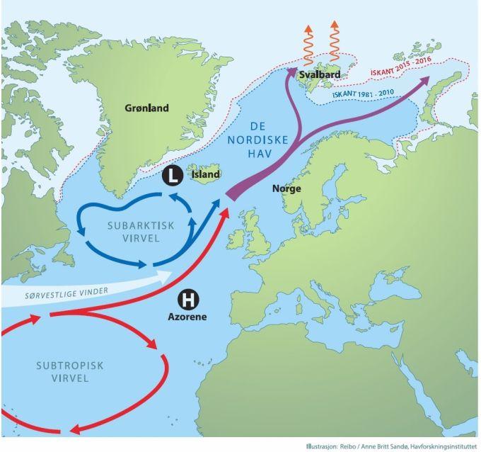 Kart over Nord-Atlanteren og havstrømmer